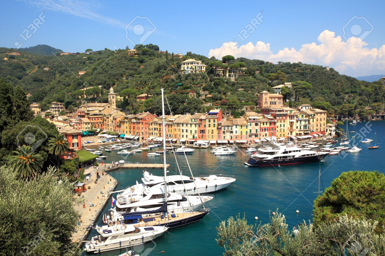 Aerial view on town of Portofino and small harbor with yachts and boats on Ligurian sea, Italy Stock Photo - 13292033