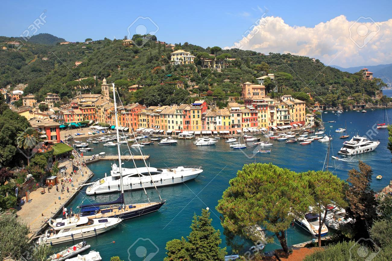 Aerial view on small bay and colorful houses at town of Portofino in Liguria, Italy  Stock Photo - 14654313