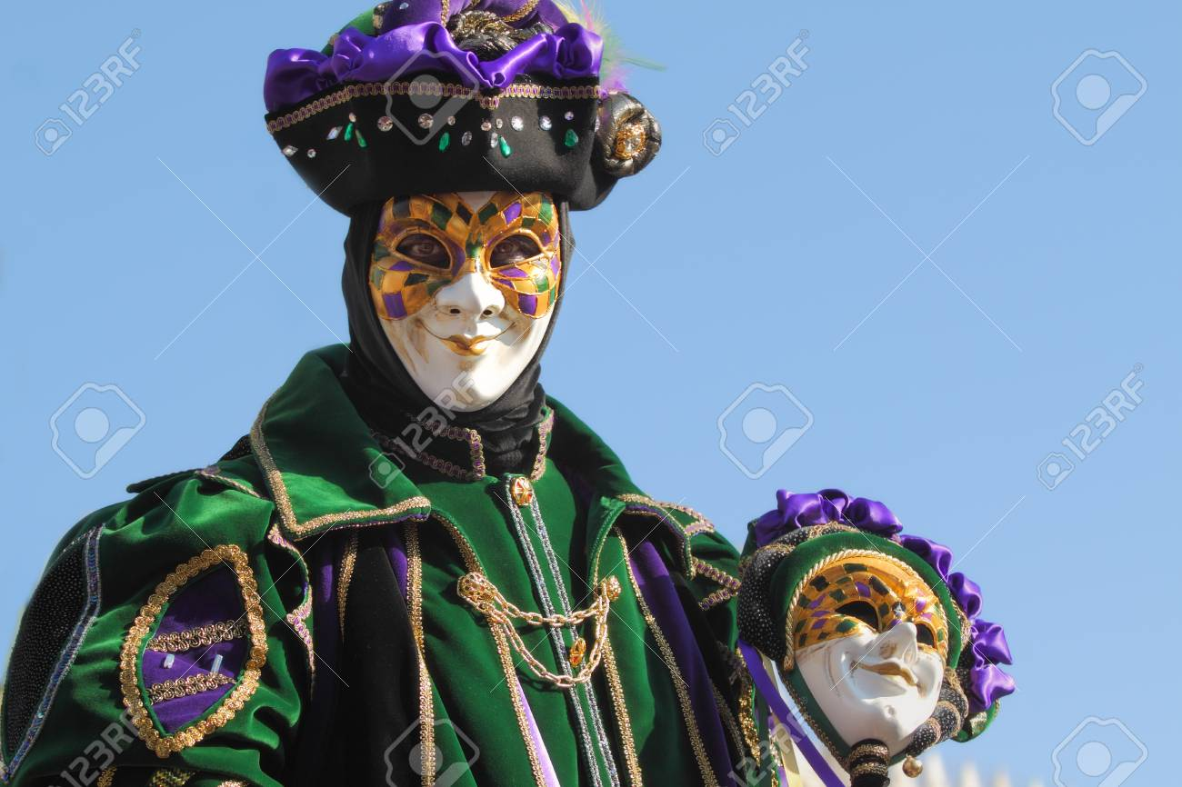 VENICE, ITALY - MARCH 04: Unidentified participant wear traditional mask and costume during famous Venetian Carnival on March 04, 2011 in Venice, Italy. Stock Photo - 17146463