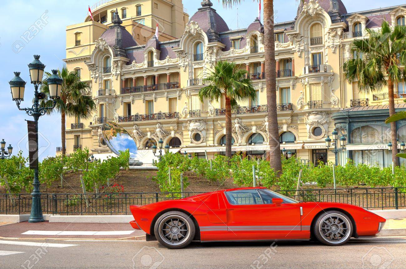 Monte Carlo Monaco July 13 Red Color Sport Car In Front Of