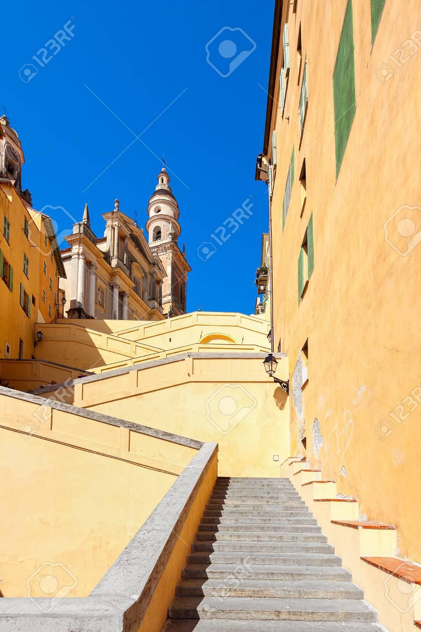 Stairs Among Colorful Walls Towards Saint-Michel Archange Basilica ...