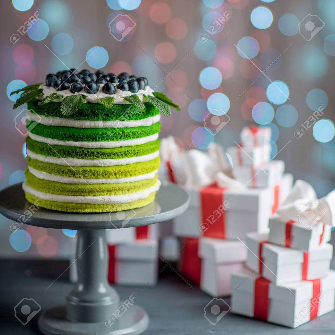 Nice Sponge Happy Birthday Cake With Mascarpone And Grapes On The Stand Gift