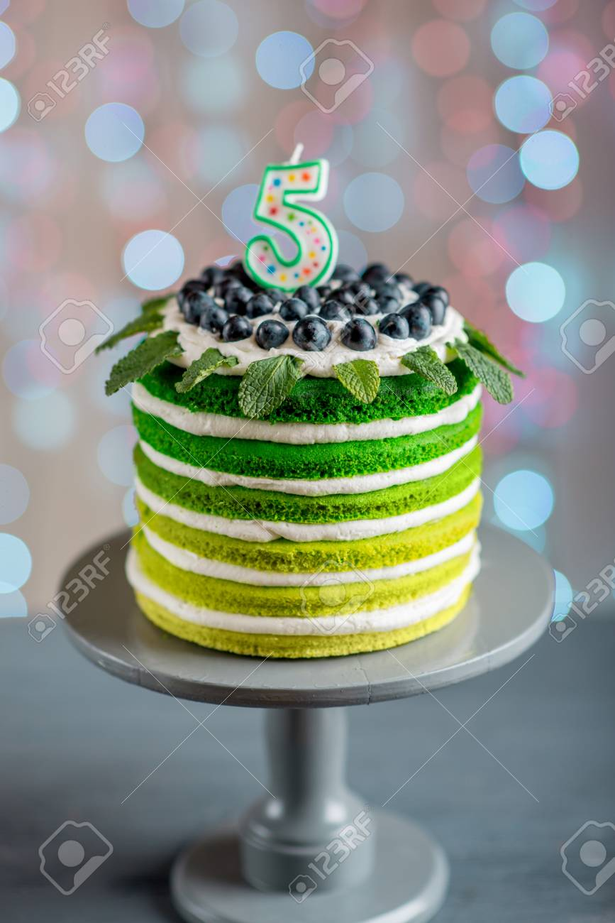 Nice Sponge Happy Birthday Cake With Mascarpone And Grapes On The Stand Candles