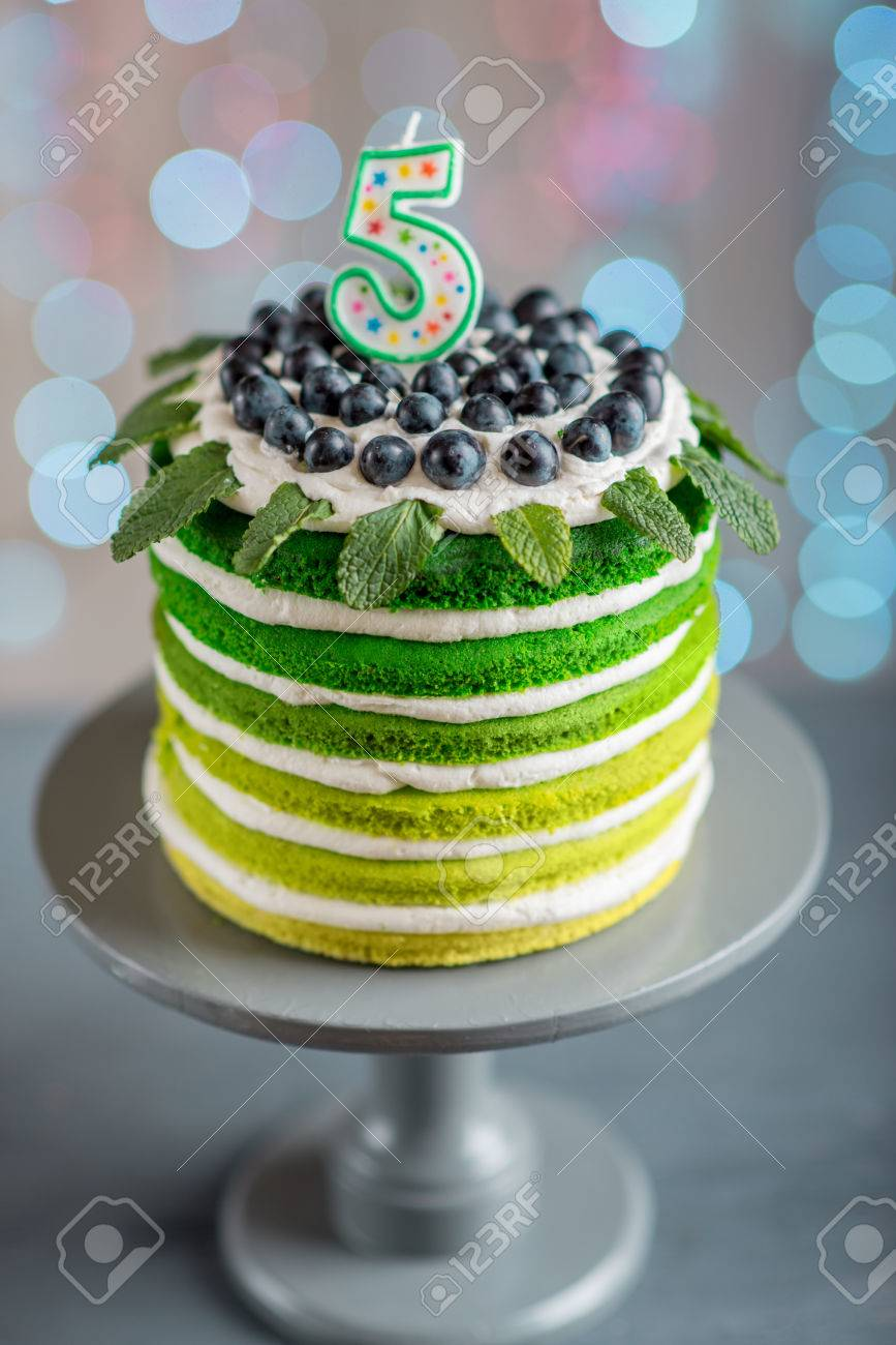 Nice Sponge Happy Birthday Cake With Mascarpone And Grapes On