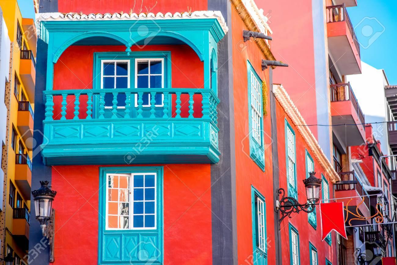 colorful house with beautiful balcony in santa cruz de la palma old town on la palma