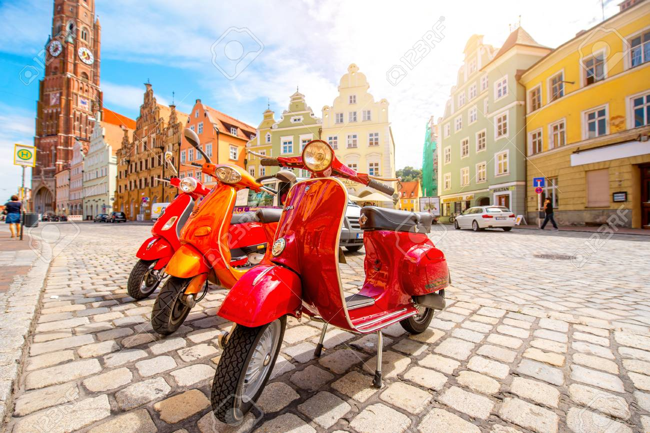 Landshut, Germany - July 04, 2016: Retro red Vespa scooters on