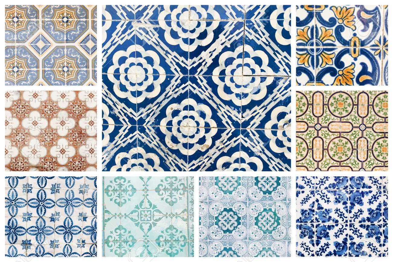 Beautiful Collage Of Different Traditional Portuguese Tiles Called ...