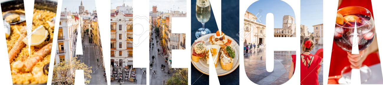 VALENCIA letters filled with pictures of famous places and cityscapes in Valencia city, Spain - 90672198
