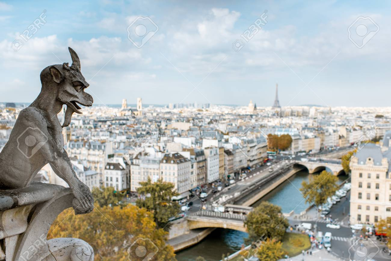 Aerial panoramic view of Paris with gargoyle sculpture on the Notre-Dame cathedral during the morning light in France - 110616070