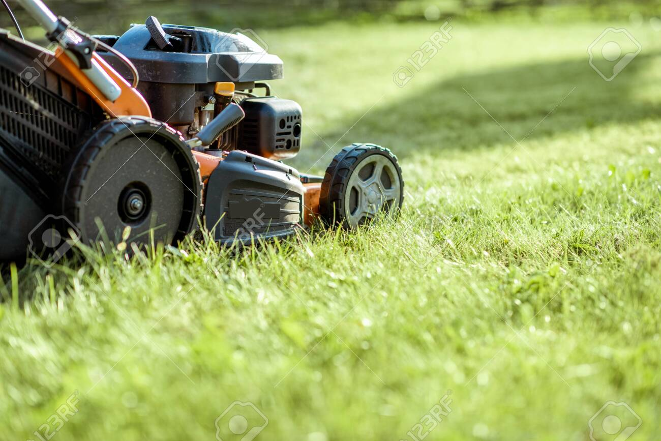 Gasoline lawn mower cutting grass, close-up with copy space. Backyard care concept - 130072720