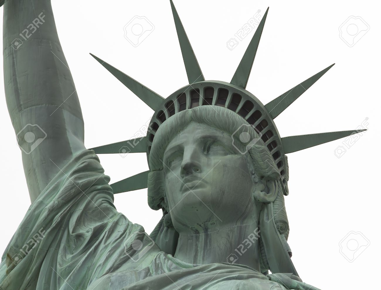 52c97f8a2e7db Statue of Liberty Close up on Face against white background Stock Photo -  17948025
