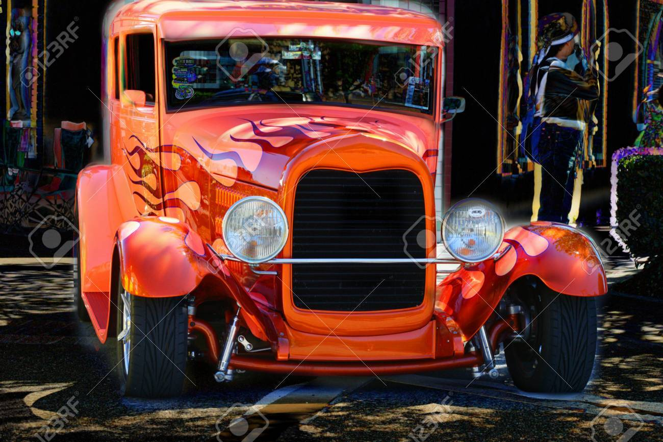 ORANGE HOT ROD WITH FLAMES Stock Photo, Picture And Royalty Free ...