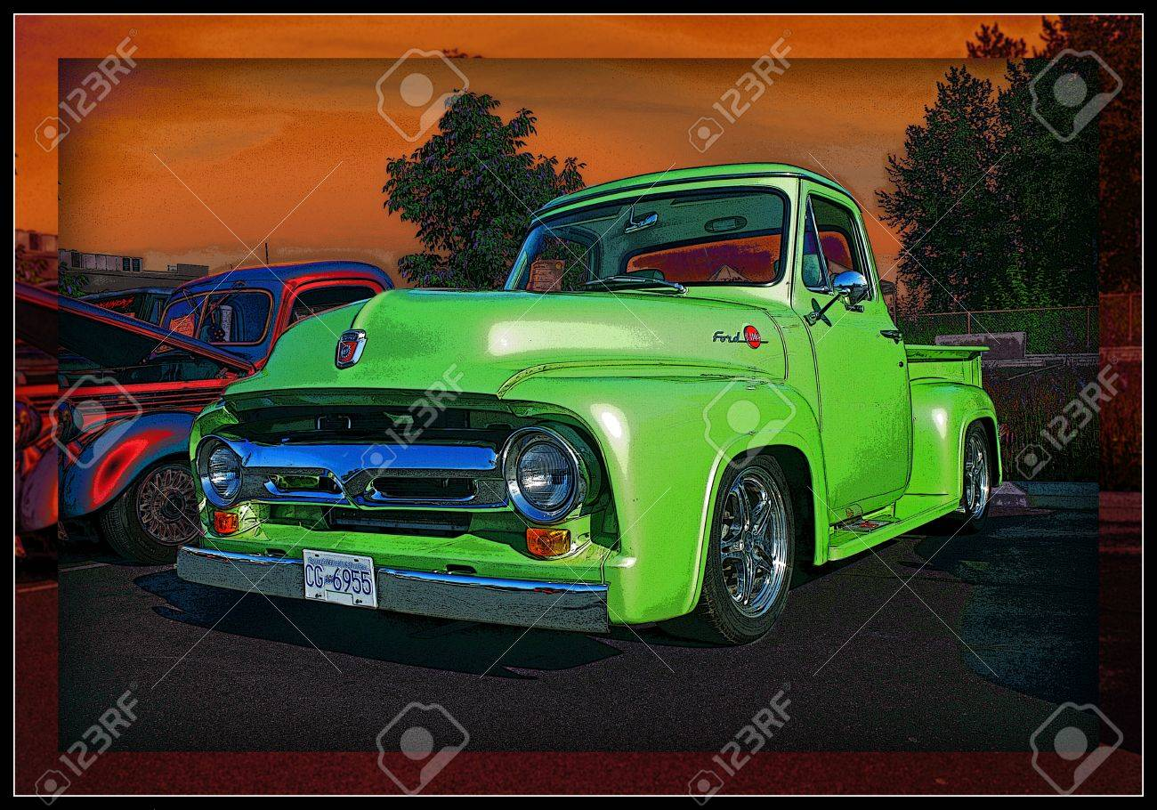 LIME GREEN PICK UP Stock Photo - 11305917