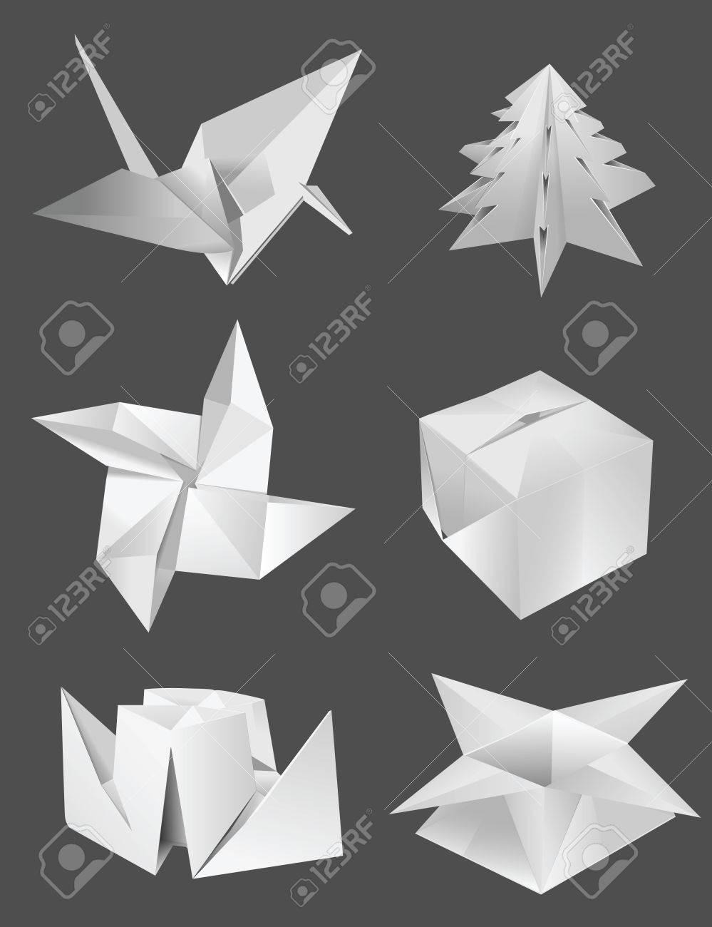 Origami bird box tree ship flower royalty free cliparts vectors origami bird box tree ship flower stock vector 23350407 mightylinksfo
