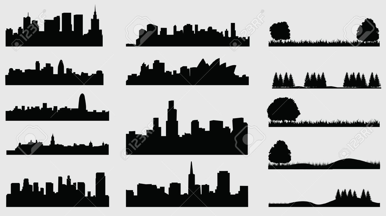 silhouette of cities meadow Stock Vector - 23350507
