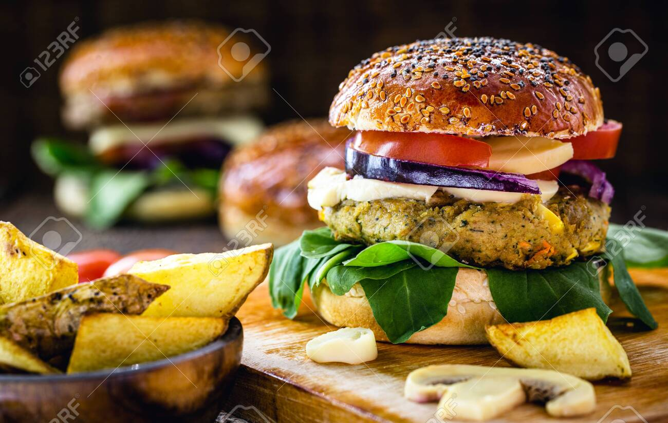 vegan hamburger, bread made with rice flour, and organic yeast with vegetables and fibers. - 150146641