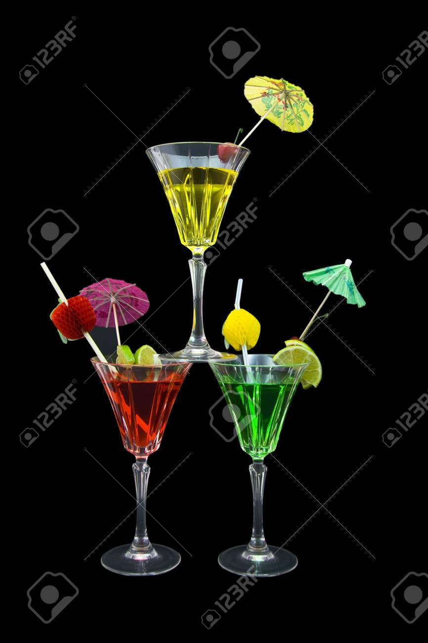 Three stacked cocktails isolated on black background Stock Photo - 3040425