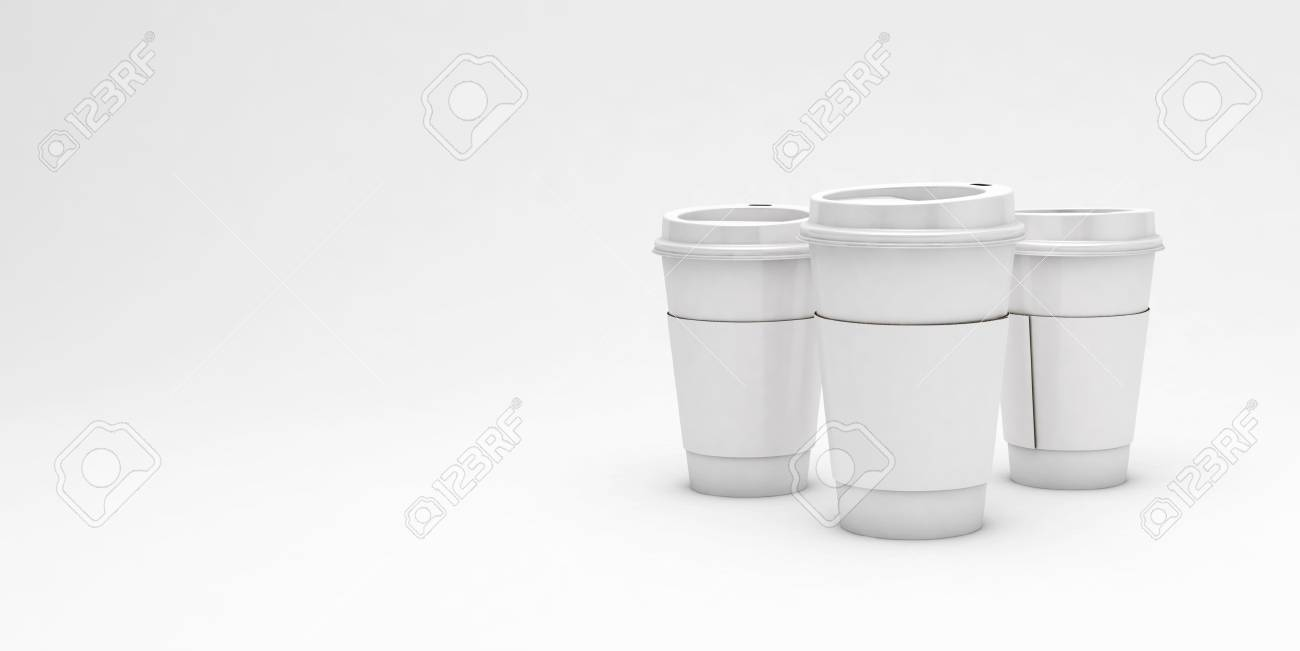 2bda4e2e0ca White cardboard coffee cups on light background with a copy space for text,  3d illustration