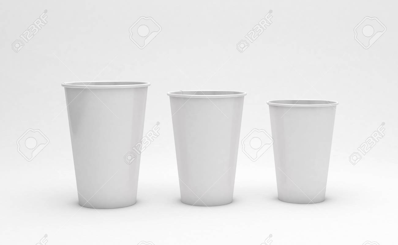 ef5361853ed Cardboard coffee cups on light background, ecology concept. 3d  illustration. Stock Illustration -