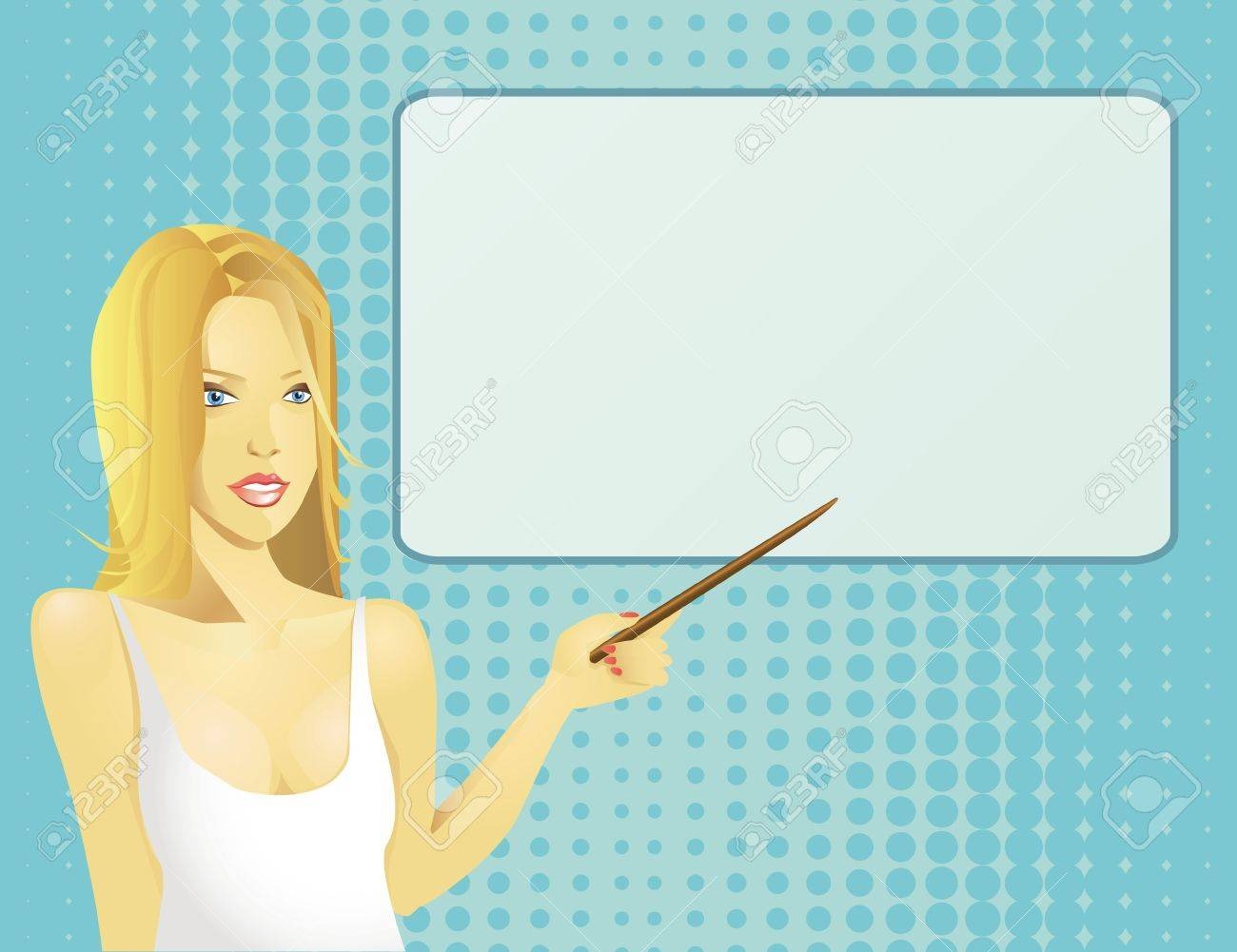 Beautiful girl giving a presentation, with space for your text. Stock Vector - 9548478
