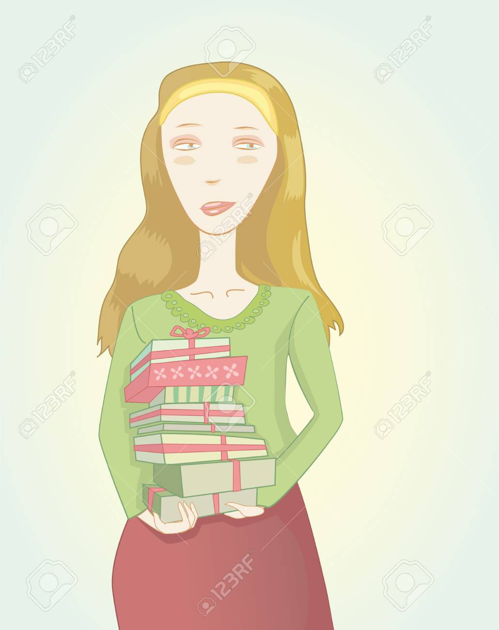 Illustraton of the girl with gift boxes in hands Stock Vector - 9548509