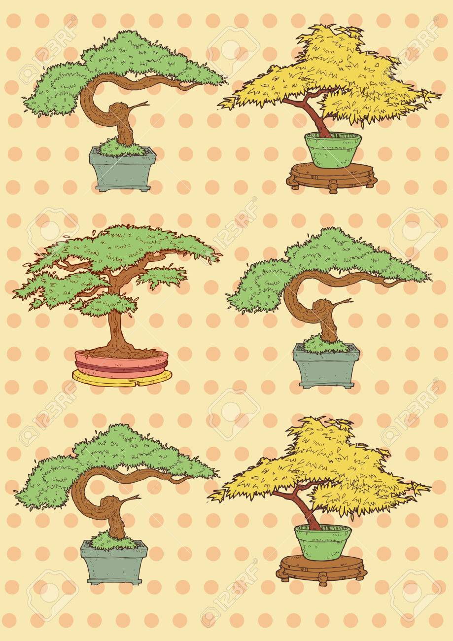 Vector Illustration Of Bonsai Trees Drawing Royalty Free Cliparts Vectors And Stock Illustration Image 27561381