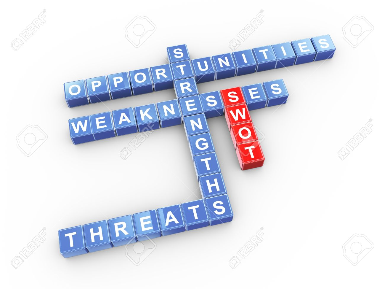 3d illustration of crossword of swot strengths weaknesses 3d illustration of crossword of swot strengths weaknesses opportunities threats stock illustration