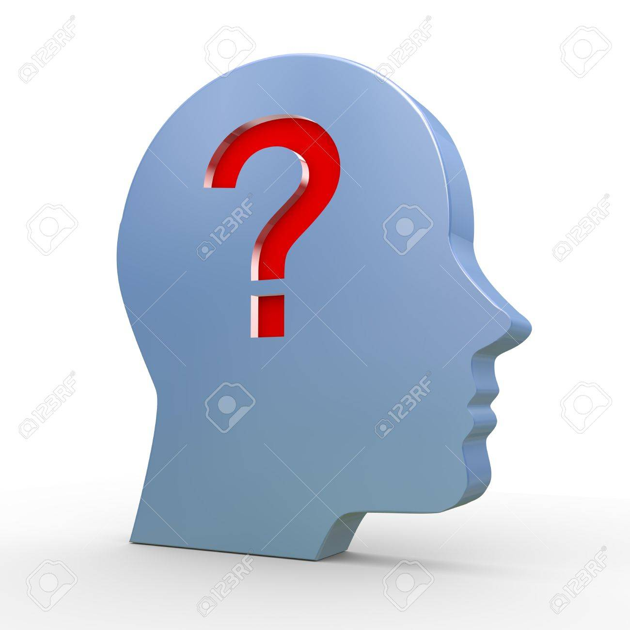 3d illustration of human head and question mark Stock Illustration - 20958910
