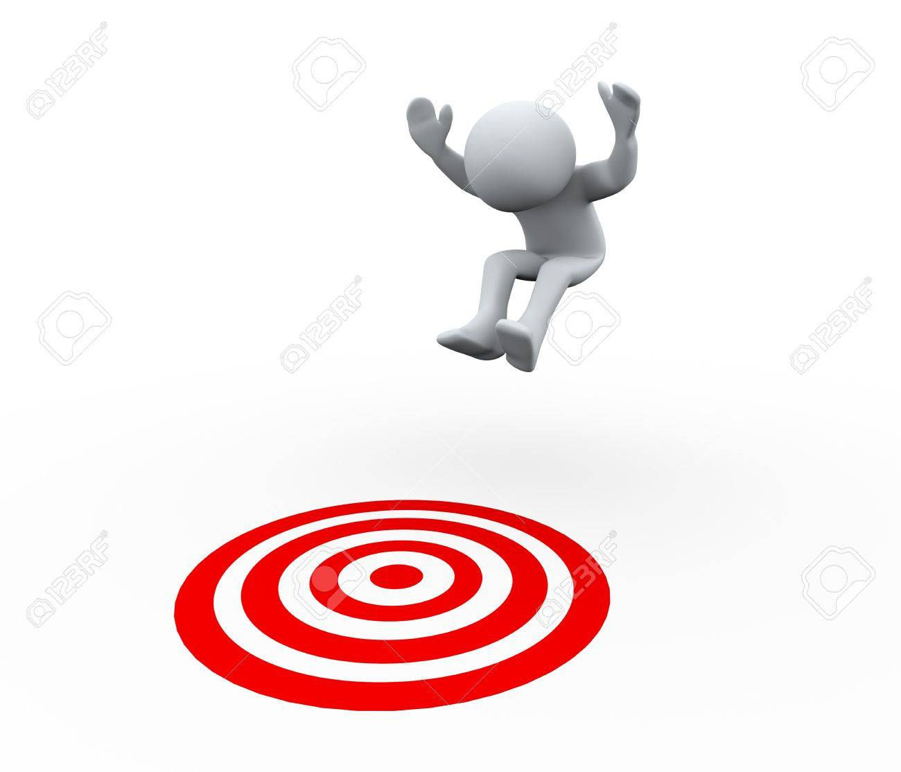 3d Illustration of man jumping on target   3d rendering of human character Stock Photo - 20958956