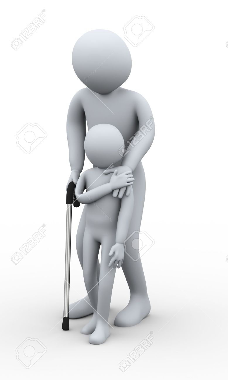 Men holding the word party concept 3d illustration stock photo - Old People 3d Illustration Of Small Boy Helping Old Man On Walking Stick 3d