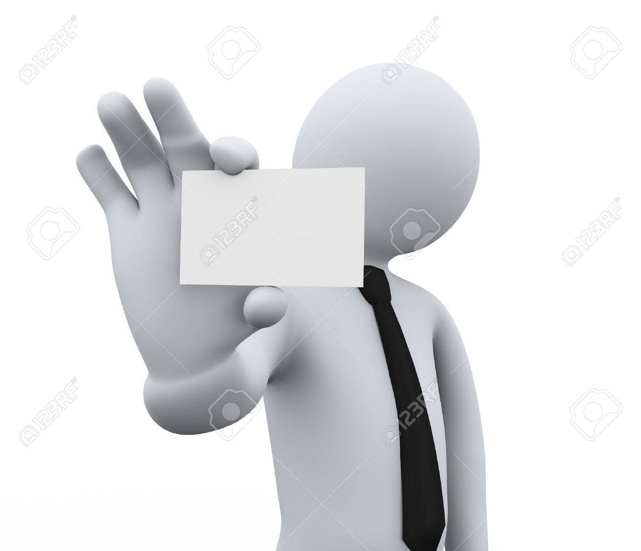 3d Illustration Of Person Showing Blank Small Business Card ...