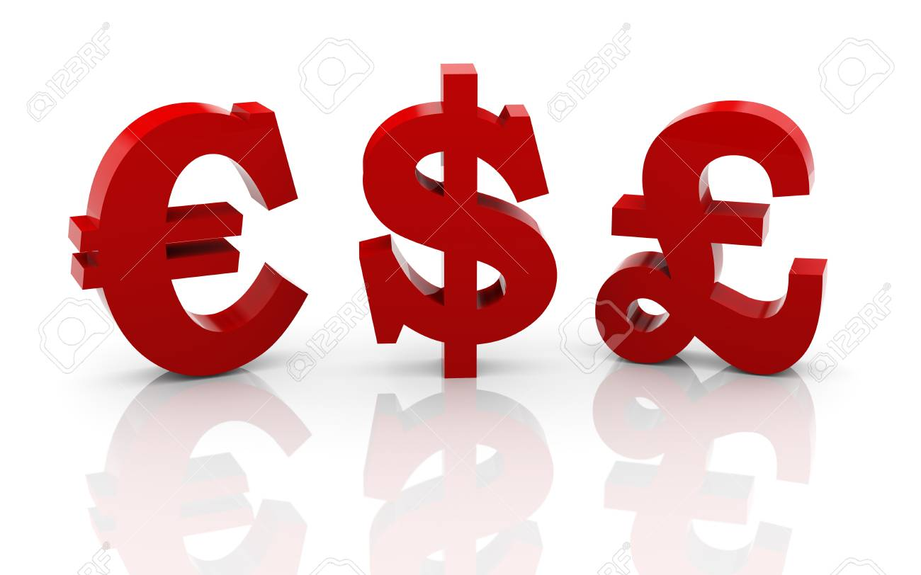 3d Illustration Of Dollar Pound And Euro Currency Symbols