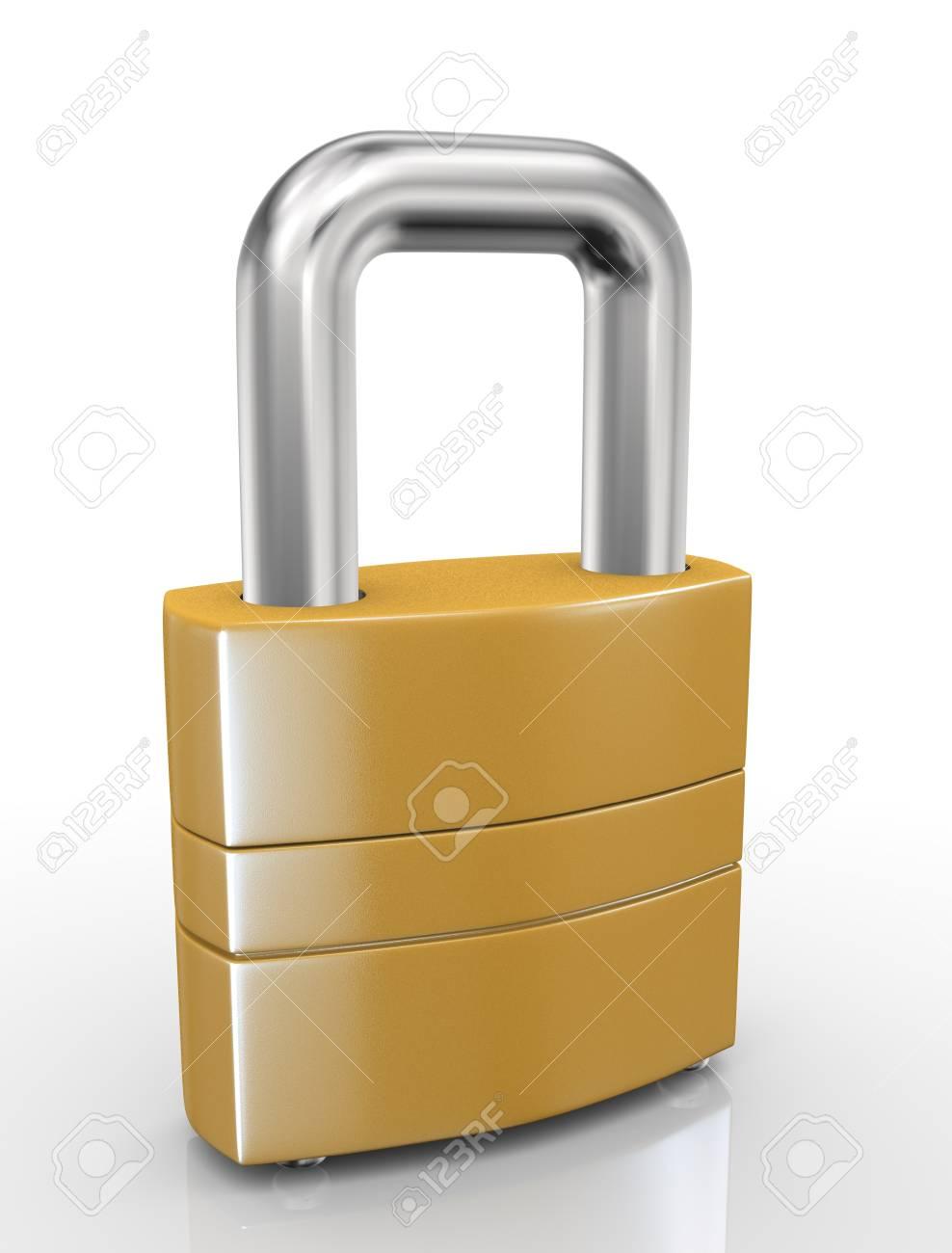 3d illustration of closeup of padlock on white background Stock Illustration - 21053924