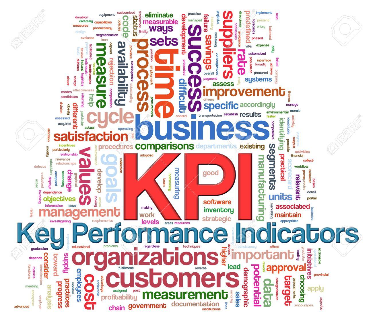 illustration of wordcloud word tags of kpi key performance stock