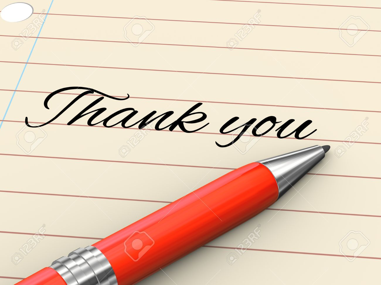 3d render of pen on paper written thank you Stock Photo - 21697496