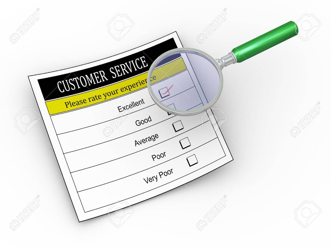 3d illustration of magnifying glass hover over customer service survey form with tick placed in excellent checkbox. Stock Photo - 21752044