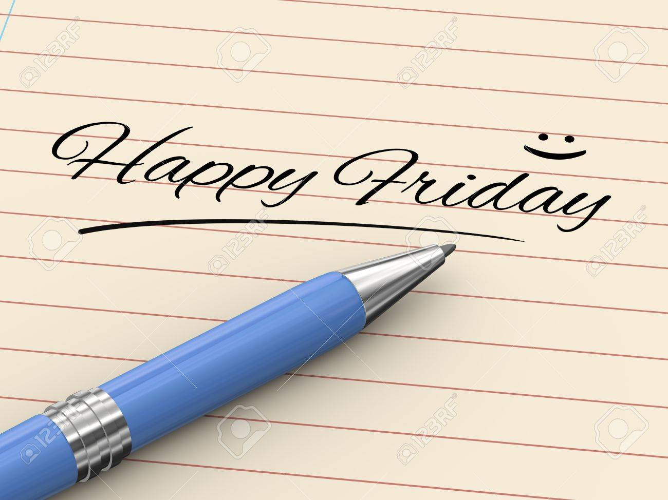 d render of pen on paper written happy friday stock photo 3d render of pen on paper written happy friday stock photo 22011590
