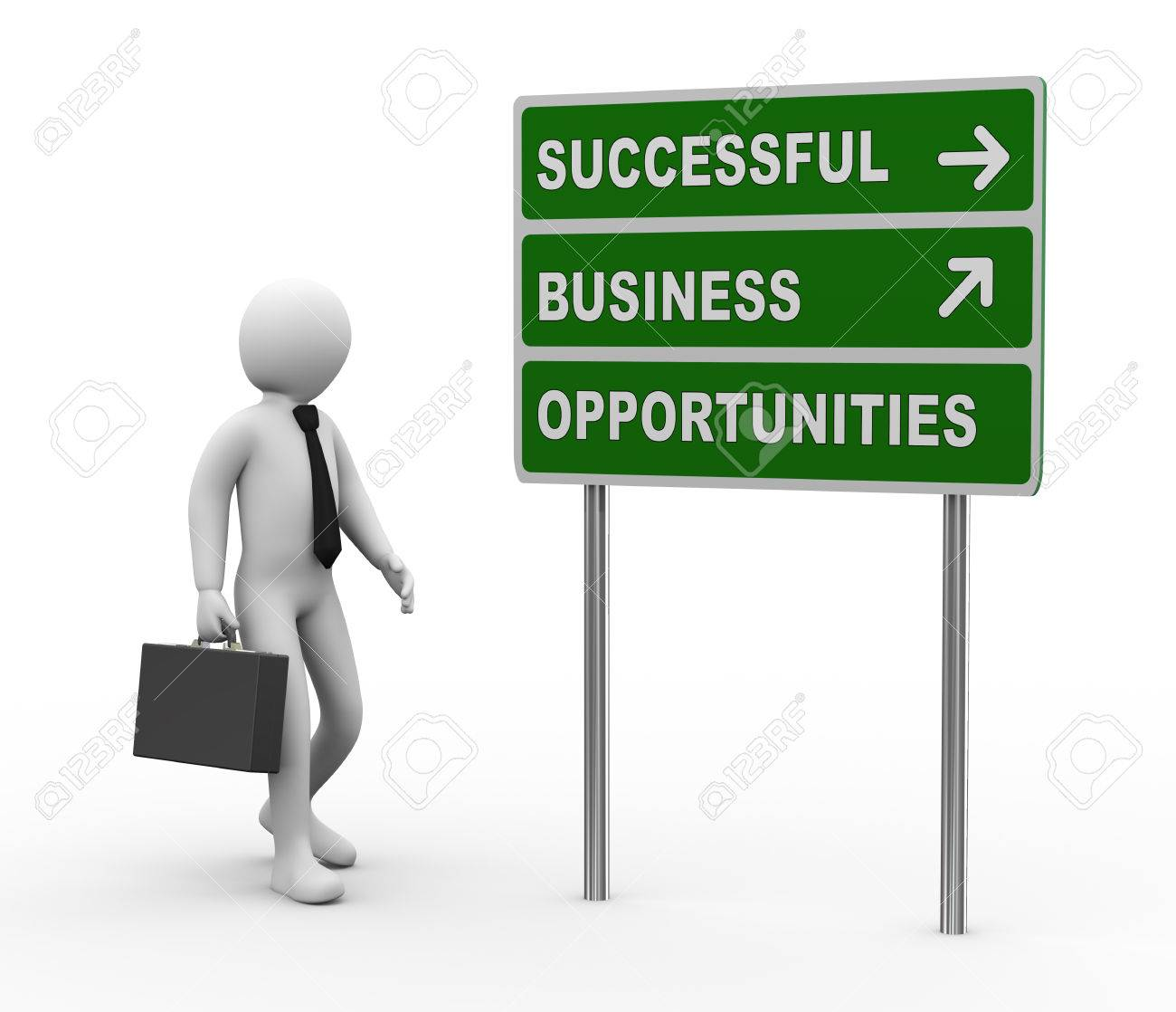 3d illustration of man and green roadsign of successful business opportunities . 3d rendering of human people character. Stock Illustration - 22275784
