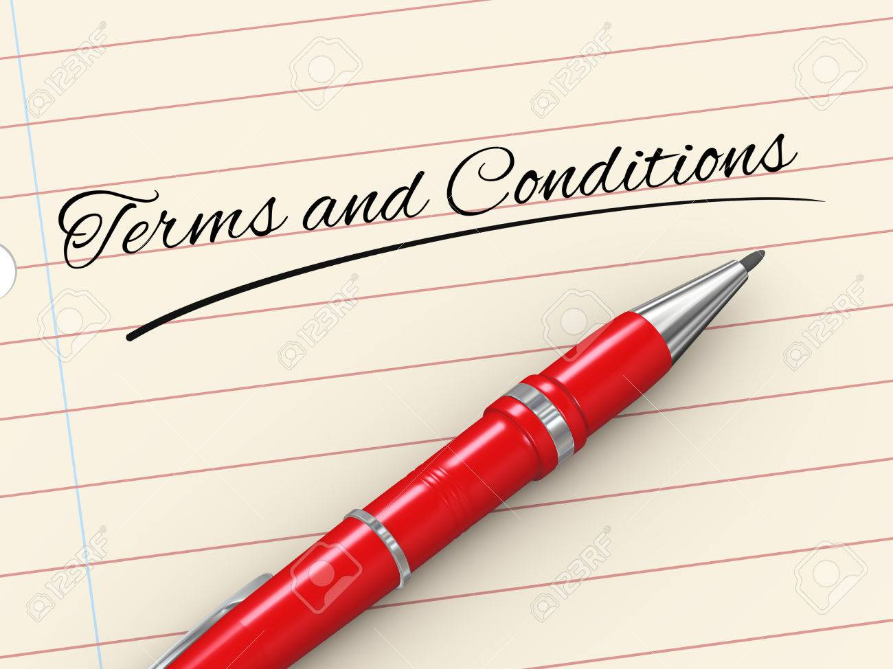 3d render of pen on paper written terms and conditions Stock Photo - 22684099