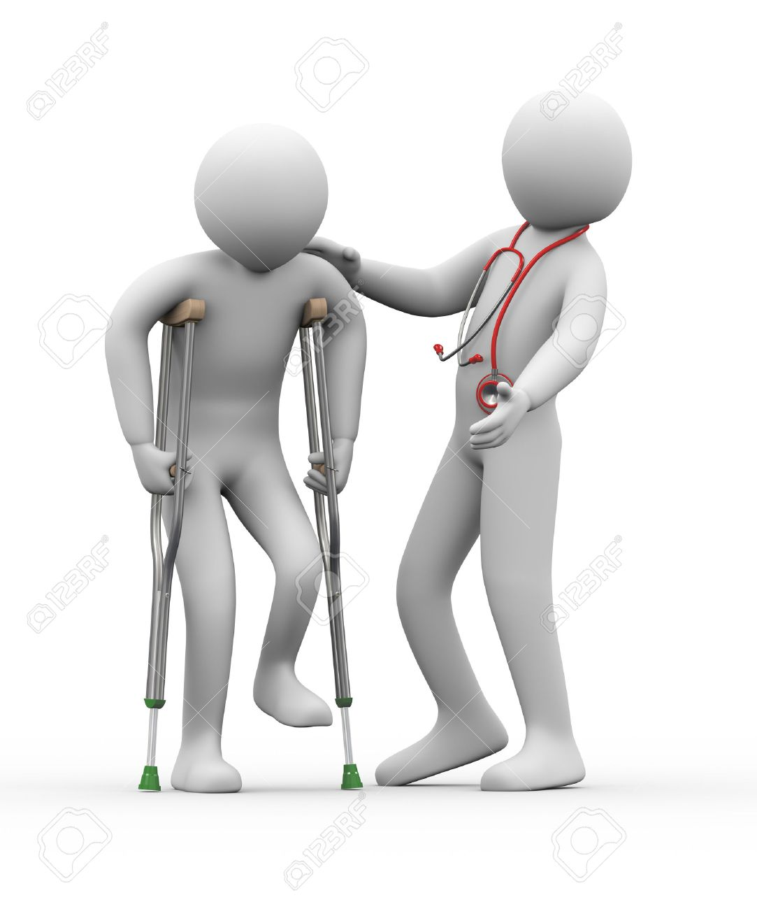 Cartoon physical therapy - 3d Illustration Of Physical Therapist With Stethoscope Helps A Man On Crutches 3d Rendering Of Human