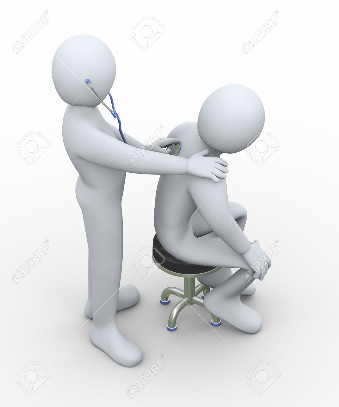 3d illustration of doctor examining a person with stethoscope  3d rendering of man - people character Stock Photo - 24264063