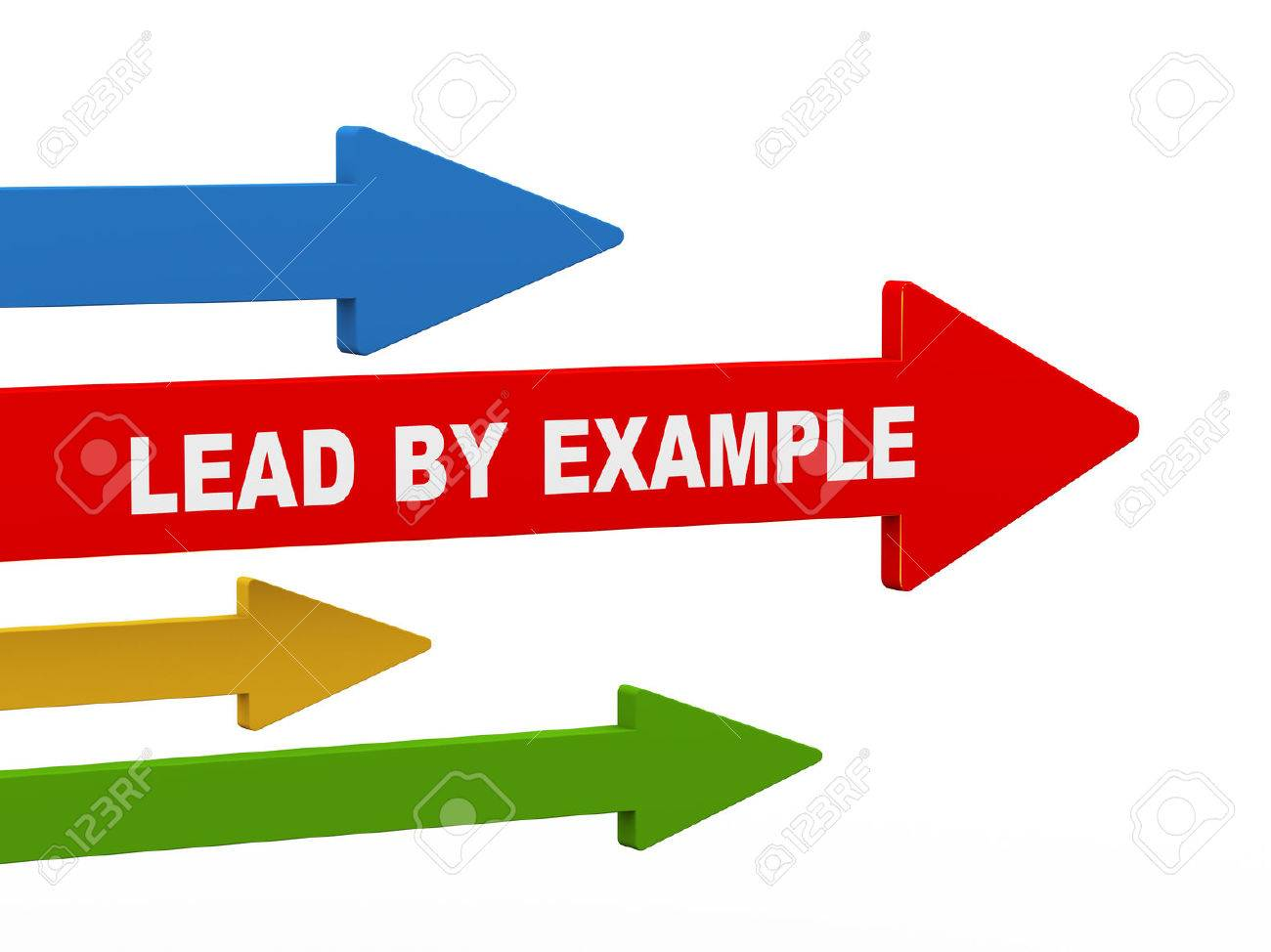 d illustration of leading red arrow having phrase lead by example 3d illustration of leading red arrow having phrase lead by example concept of leadership