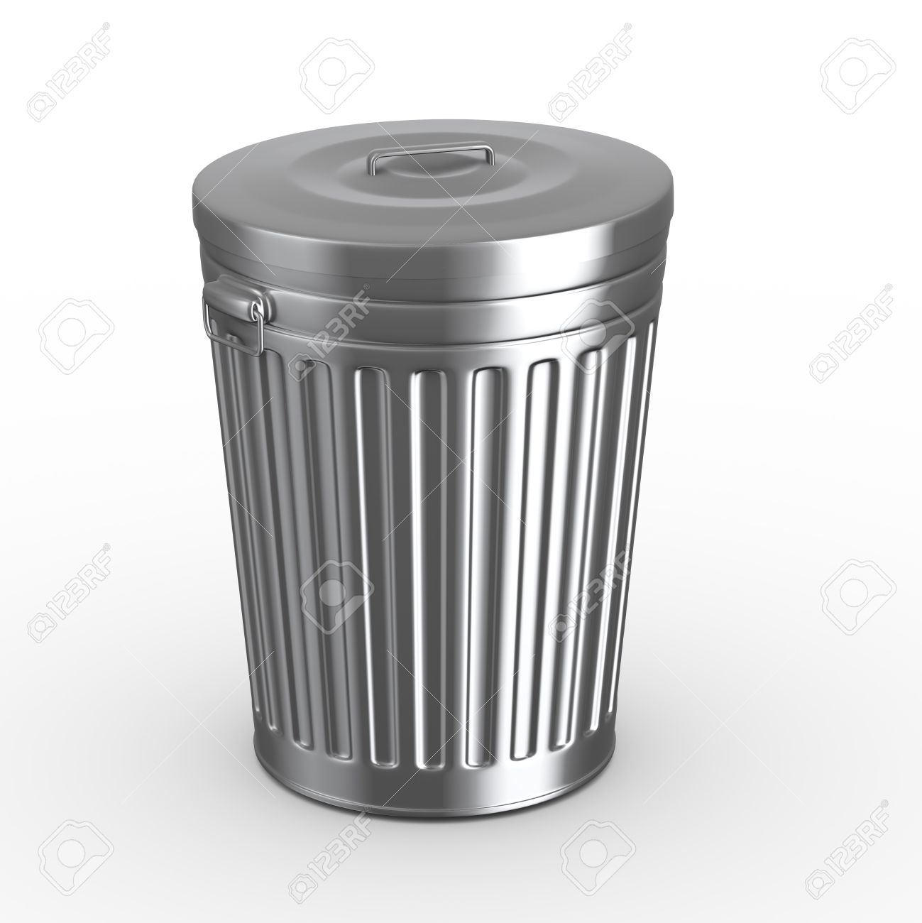 3d illustration of closed steel shiny metal trash can bin white