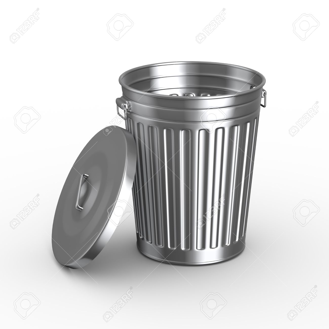 3d illustration of steel shiny metal trash can bin with cover