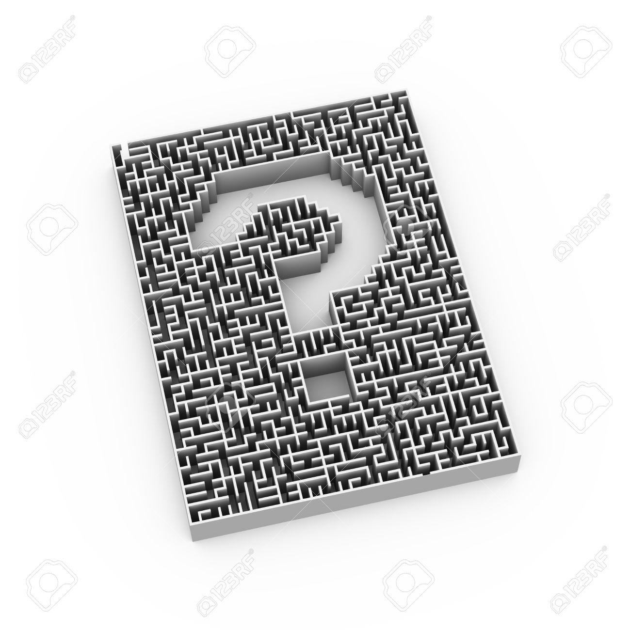 3d Illustration Of Complicated Question Mark Symbol Sign Maze