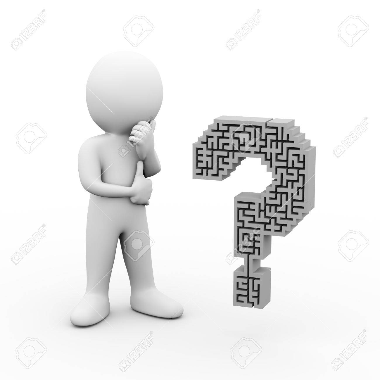 3d illustration of confuse man thinking and looking at question 3d illustration of confuse man thinking and looking at question mark symbol sign maze shape biocorpaavc Choice Image