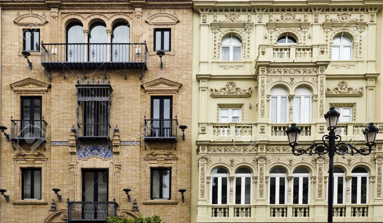 classic architectural buildings.  Buildings Detail Of Contiguous Buildings With Two Different Classic Architectural  Styles In Seville Spain Stock Photo Intended Classic Architectural Buildings
