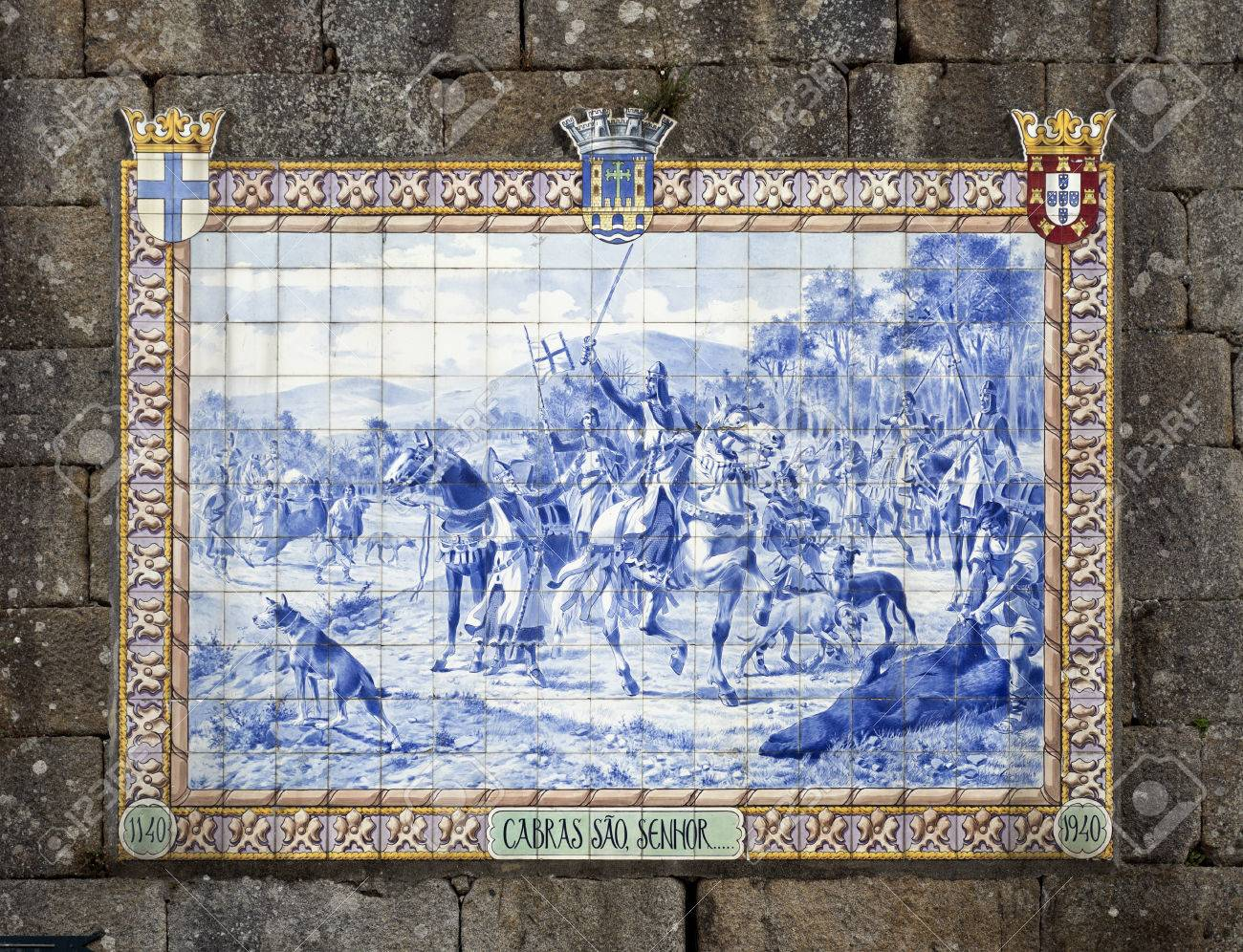 Panel Of Blue Ceramic Tiles Depicting Portuguese King Afonso.. Stock ...