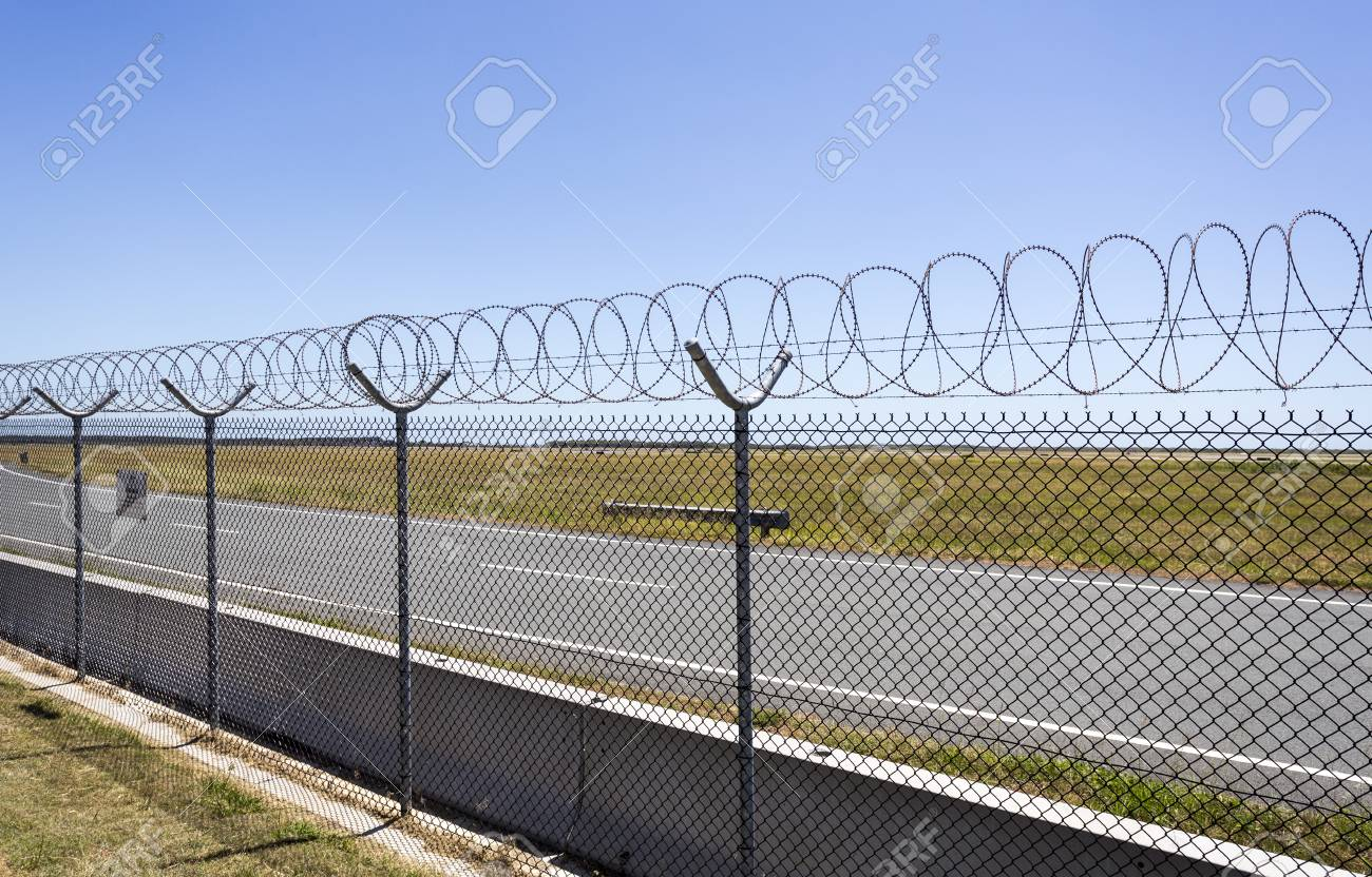 Airport Fence Using Razor Wire On Top For Extra Security At Brisbane ...
