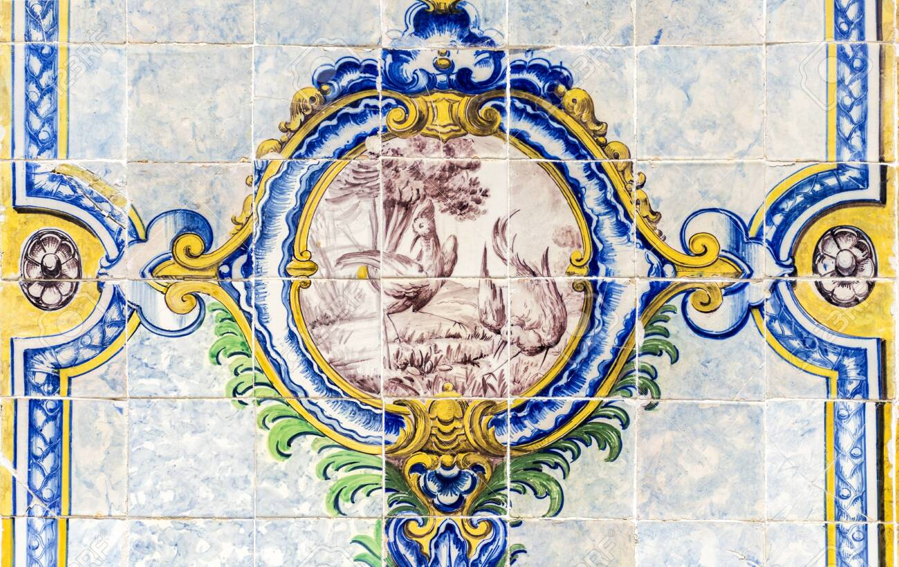 detail of the traditional polychromatic decorative tiles with